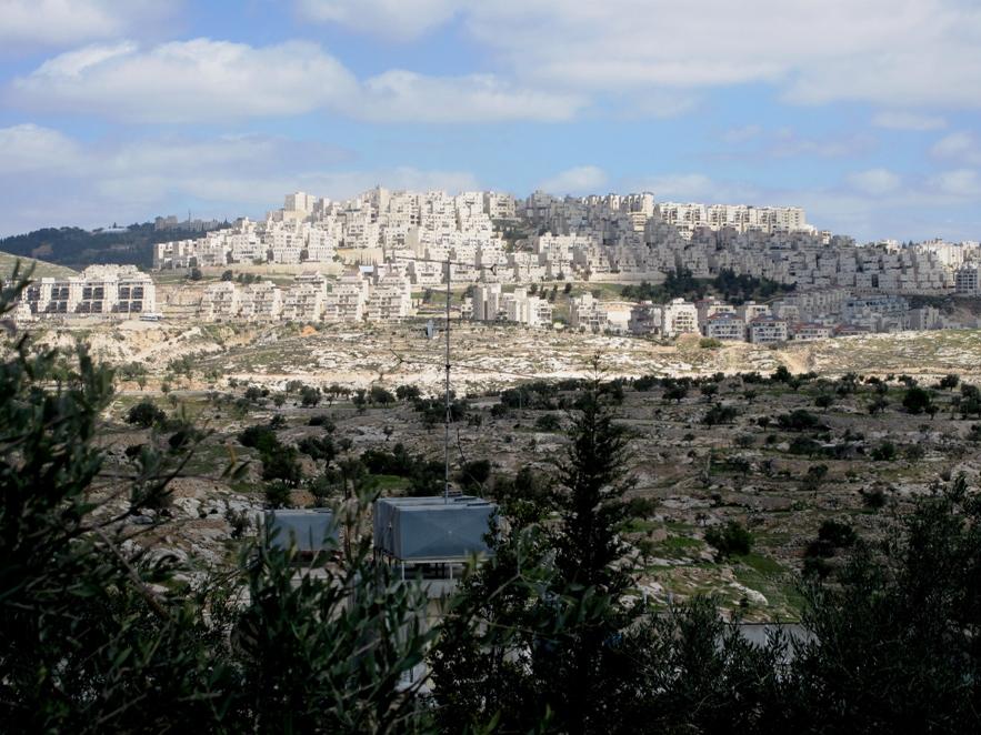 La colonia israeliana di Har Homa, costruita alla fine degli anni '90 sradicando la foresta di Abu Ghneim, tra Betlemme e Gerusalemme (Foto: Nena News)
